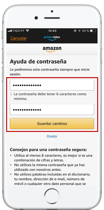pasos recupero de contraseña amazon prime video