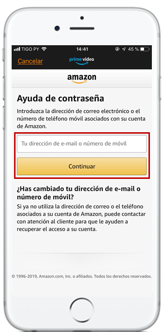 recuperar contraseña amazon prime video tigo