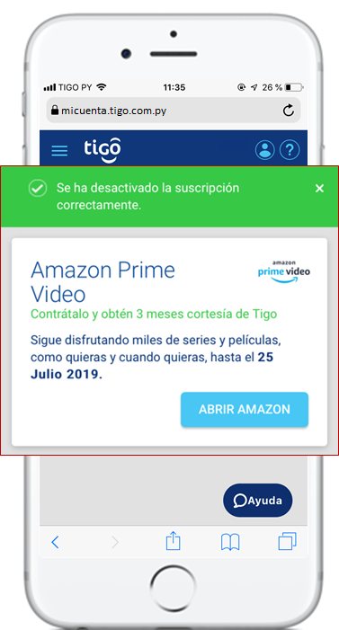 cancelar amazon prime tigo