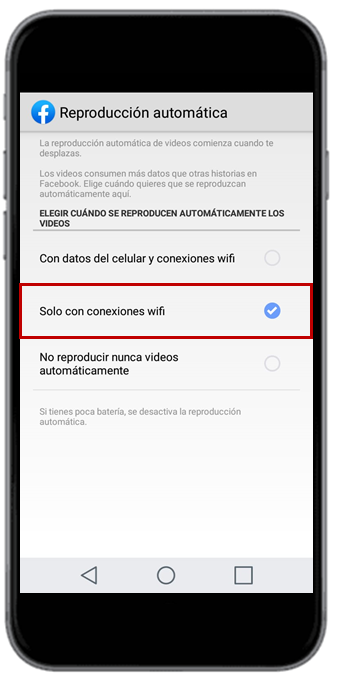 Desactivar videos facebook en Android