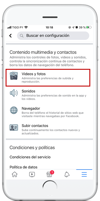 videos facebook iphone desactivar