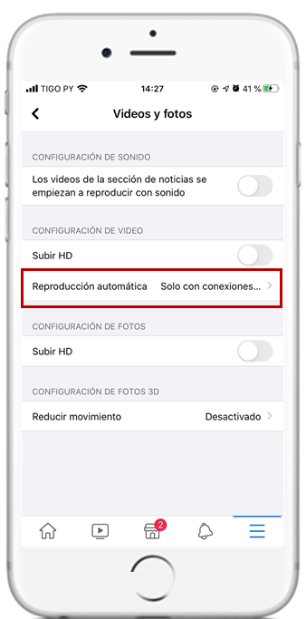 facebook reproduccion videos con wifi