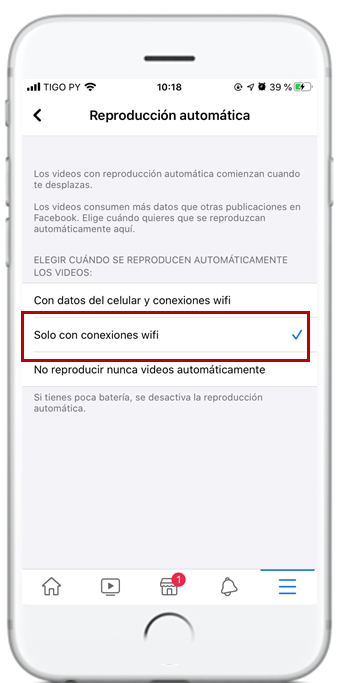 desactivar reproduccion videos facebook