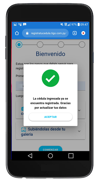 tigo money datos actualizar